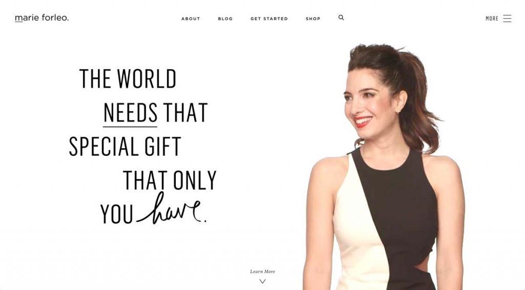 Life Coach Website Example - Marie Forleo