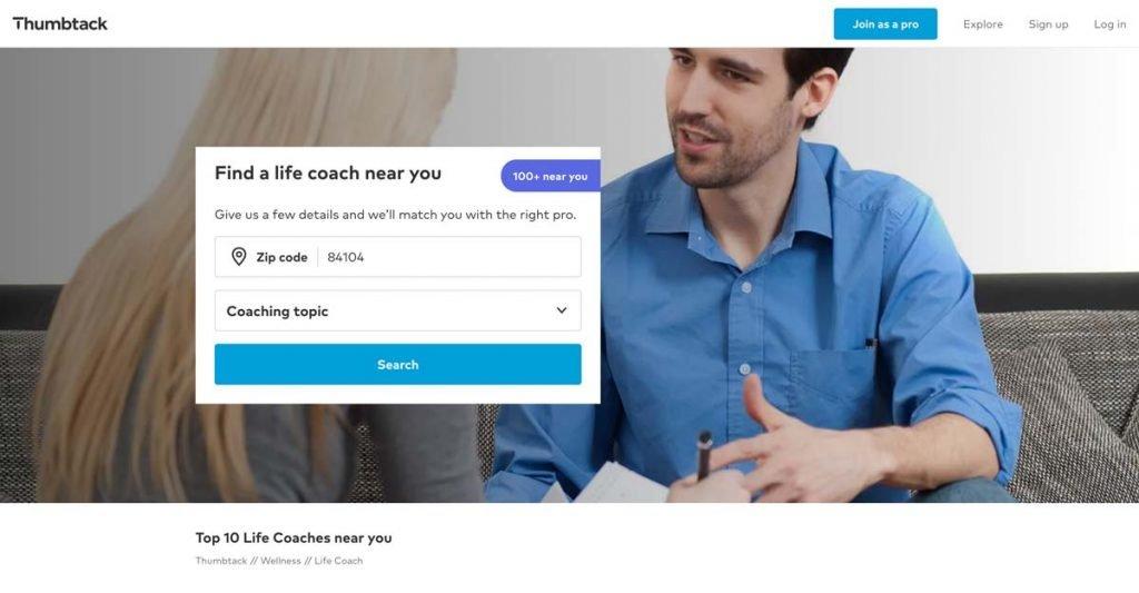 Thumbtack website - Life Coach Directory